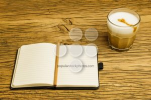 Concept empty notebook plan coffee - Popular Stock Photos