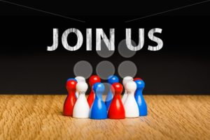 Concept for join us red white blue chalk text white - Popular Stock Photos