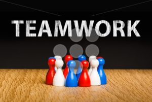 Concept for teamwork red white blue chalk text white - Popular Stock Photos