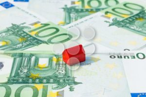 Concept house sell money euro red - Popular Stock Photos