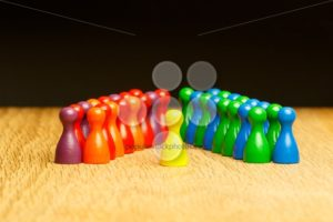 Concept leader, leadership, adoration yellow pawn - Popular Stock Photos
