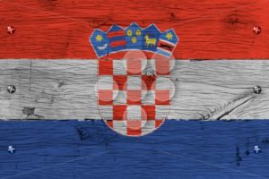 Croatia national flag painted old oak wood fastened - Popular Stock Photos