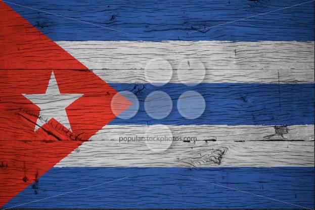 Cuba national flag painted old oak wood - Popular Stock Photos