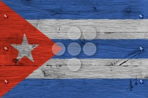 Cuba national flag painted old oak wood fastened - Popular Stock Photos