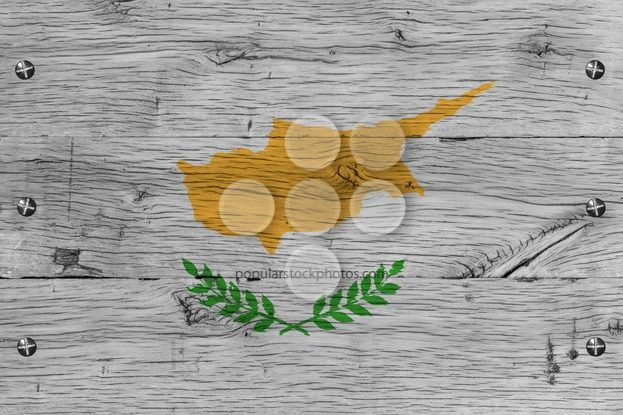 Cyprus national flag painted old oak wood fastened – Popular Stock Photos