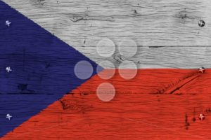 Czech Republic national flag painted old oak wood fastened - Popular Stock Photos