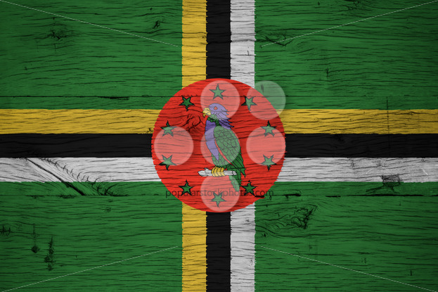 Dominica national flag painted old oak wood - Popular Stock Photos