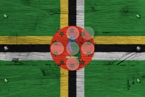 Dominica national flag painted old oak wood fastened - Popular Stock Photos