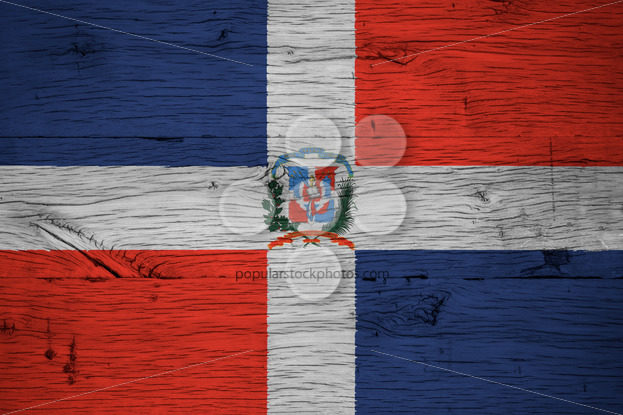 Dominican Republic national flag coat arms painted old oak wood - Popular Stock Photos