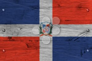 Dominican Republic national flag coat arms painted old oak wood fastened - Popular Stock Photos