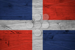 Dominican Republic national flag painted old oak wood - Popular Stock Photos