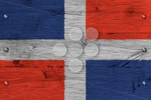 Dominican Republic national flag painted old oak wood fastened - Popular Stock Photos