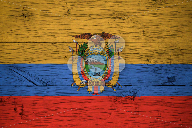 Ecuador national flag painted old oak wood - Popular Stock Photos