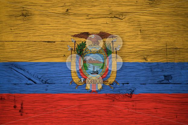Ecuador national flag painted old oak wood - Popular Stock Photos