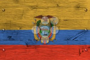 Ecuador national flag painted old oak wood fastened - Popular Stock Photos