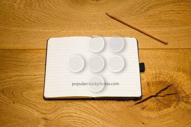 Empty pages notebook pencil above textbook copy space – Popular Stock Photos