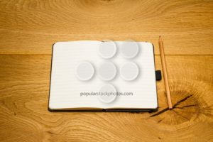 Empty pages notebook pencil on desk copy space - Popular Stock Photos