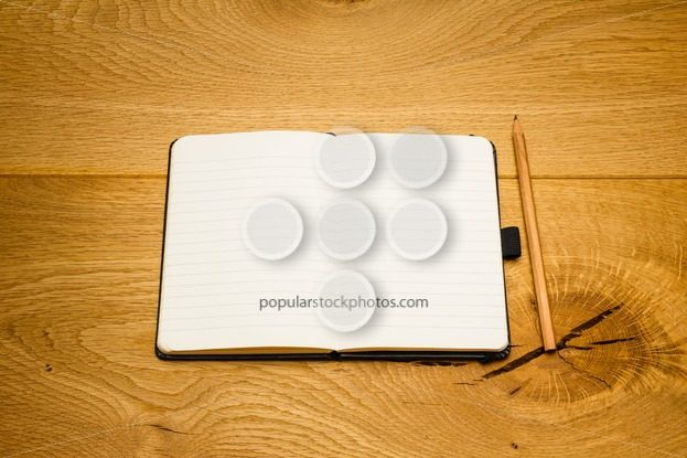 Empty pages notebook pencil on desk copy space – Popular Stock Photos