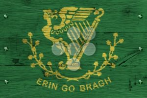 Erin Go Bragh flag painted old oak wood fastened - Popular Stock Photos