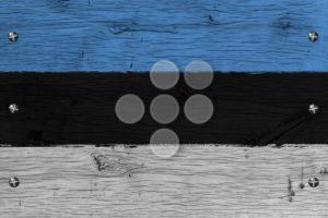 Estonia national flag painted old oak wood fastened - Popular Stock Photos