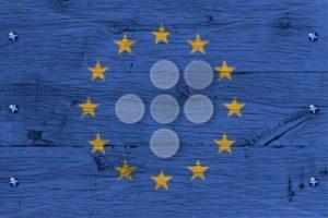 European Union flag painted old oak wood fastened - Popular Stock Photos