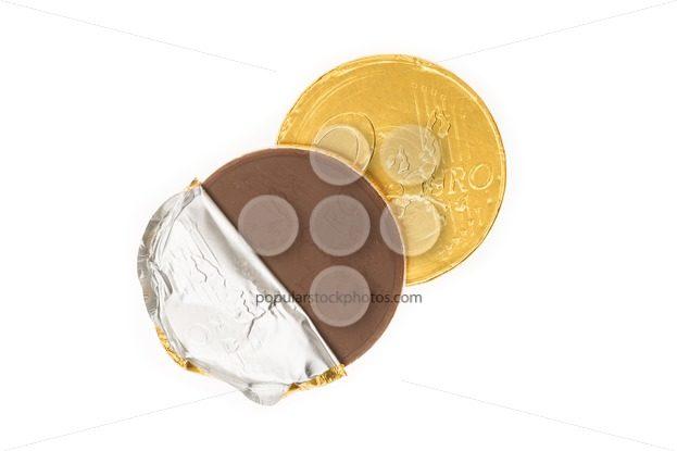 Fake two euro coin chocolate – Popular Stock Photos