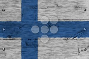 Finland national flag painted old oak wood fastened - Popular Stock Photos