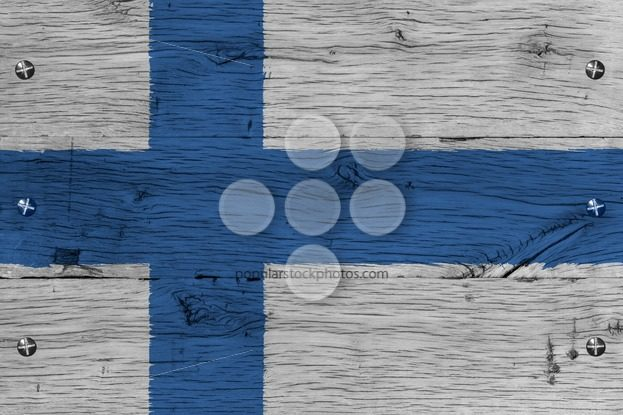 Finland national flag painted old oak wood fastened – Popular Stock Photos