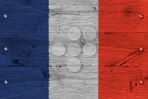 France national flag painted old oak wood fastened - Popular Stock Photos