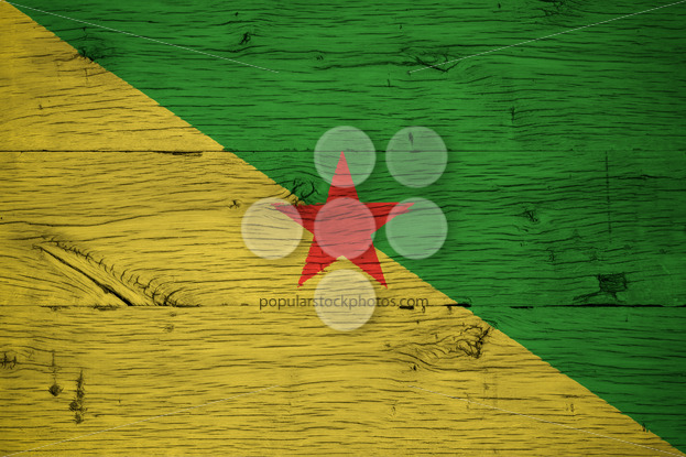 French Guiana national flag painted old oak wood - Popular Stock Photos