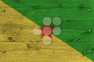 French Guiana national flag painted old oak wood fastened - Popular Stock Photos