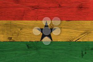 Ghana national flag painted old oak wood - Popular Stock Photos