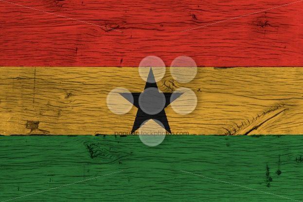 Ghana national flag painted old oak wood – Popular Stock Photos