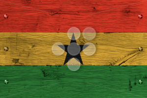 Ghana national flag painted old oak wood fastened - Popular Stock Photos