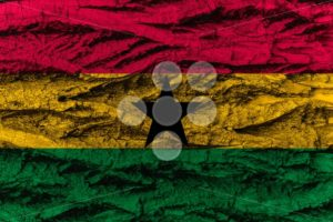 Ghana national flag painted wooden bark tree - Popular Stock Photos