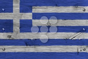 Greece national flag painted old oak wood fastened - Popular Stock Photos