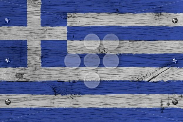 Greece national flag painted old oak wood fastened – Popular Stock Photos
