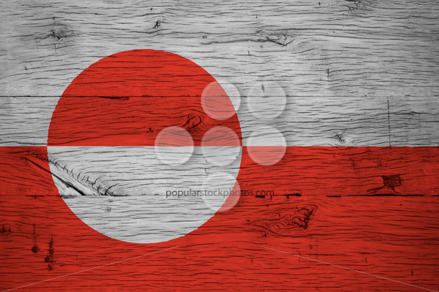 Greenland national flag painted old oak wood - Popular Stock Photos