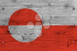 Greenland national flag painted old oak wood fastened - Popular Stock Photos