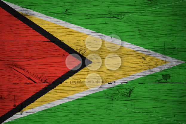 Guyana national flag painted old oak wood - Popular Stock Photos