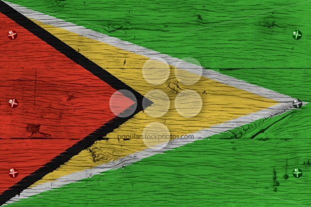 Guyana national flag painted old oak wood fastened – Popular Stock Photos