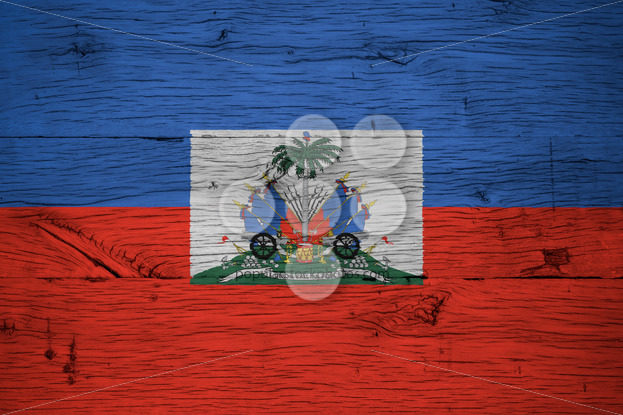 Haiti national flag coat arms painted old oak wood - Popular Stock Photos