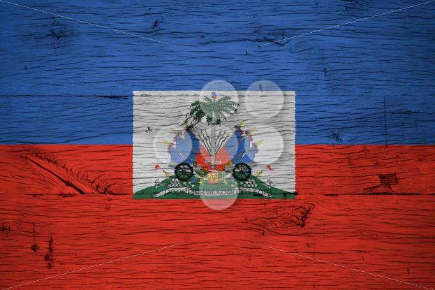 Haiti national flag coat arms painted old oak wood - Popular Stock Photos