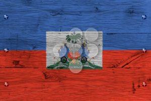Haiti national flag coat arms painted old oak wood fastened - Popular Stock Photos