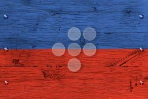 Haiti national flag painted old oak wood fastened - Popular Stock Photos