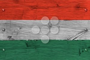 Hungary national flag painted old oak wood fastened - Popular Stock Photos
