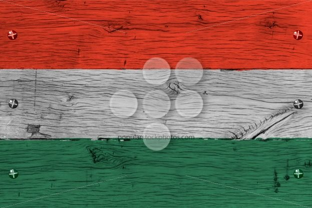 Hungary national flag painted old oak wood fastened – Popular Stock Photos