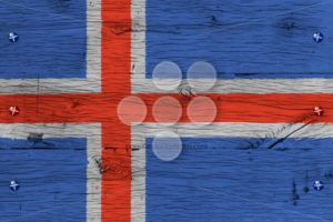 Iceland national flag painted old oak wood fastened - Popular Stock Photos