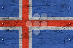 Iceland national flag painted old oak wood fastened - Popular Stock Photos
