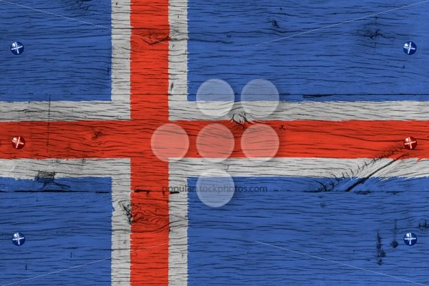 Iceland national flag painted old oak wood fastened – Popular Stock Photos